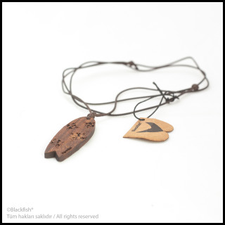 Walnut Tree Inlaid Necklace Fishboard Series B10.FB.06